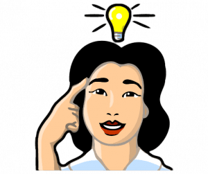 a woman with a lightbulb above her head